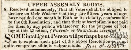 Newspaper article noting who is entitled to vote in the Upper Assembly Rooms 1878