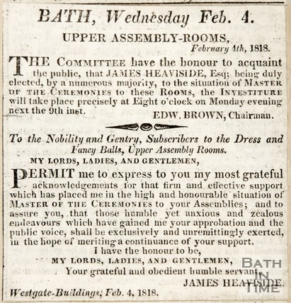 Newspaper article announcing James Heaviside had been elected as Master of Ceremonies 1818