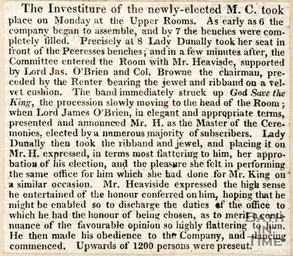 Newspaper article concerning the investiture of the Master of Ceremonies