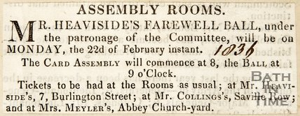 Newspaper article celebrating Mr. Heaviside's farewell ball 1836