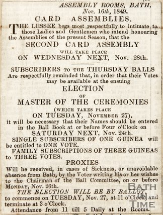 Newspaper article announcing events to occur at the Upper Assembly Rooms 1849