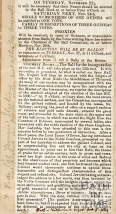 Newspaper article concerning the inauguration of the Master of Ceremonies of the Upper Assembly Rooms 1849