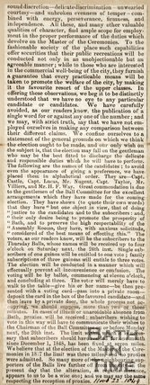Newspaper article detailing the job of the Master of Ceremonies 1849