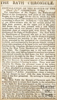 Newspaper article announcing Mr. Nugent is the new Master of Ceremonies 1849
