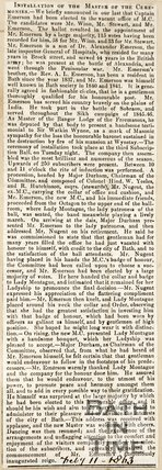 Newspaper article concerning the installation of Captain Emerson as Master of Ceremonies at the Upper Assembly Rooms 1863