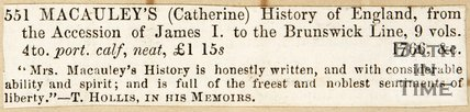 Newspaper article advertising a book written by Catherine Macaulay