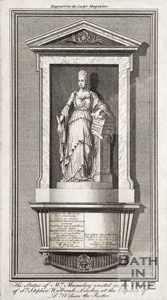A statue of Miss Macaulay at the Church of St Stephen, Walbrook, London.