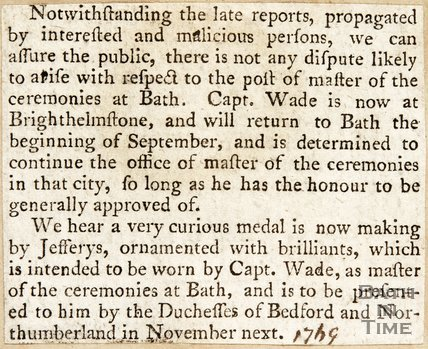 Newspaper article announcing the return of Master Wade as the Master of Ceremonies 1769