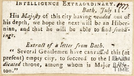 Newspaper article noting Mr. Wade is out of his depth in his role of Master of Ceremonies 1777