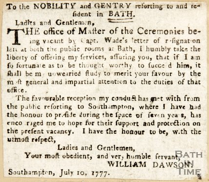 Newspaper article announcing the Master of Ceremonies role as vacant 1777