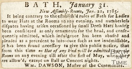 Newspaper article discussing the rules and etiquette of the Lower Assembly Rooms 1785