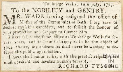 Newspaper article in which Richard Tyson declares himself as a candidate for the Master of Ceremonies position 1777