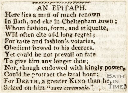 Newspaper article containing the epitaph of James King. 1816