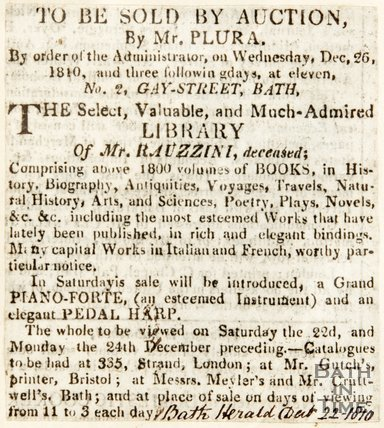 Newspaper article announcing the sale of property belonging to Venanzio Rauzzini by auction. 1810.