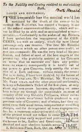 Newspaper article addressing the gentry of Bath advertising a vacancy of musical attainment. 1810