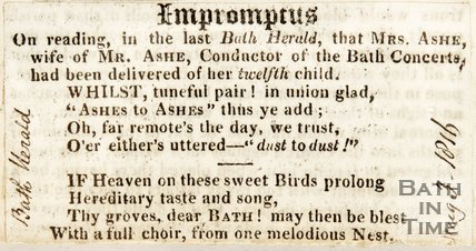 Newspaper article containing a short poem celebrating the birth of Miss Ashe's twelfth child. 1815.