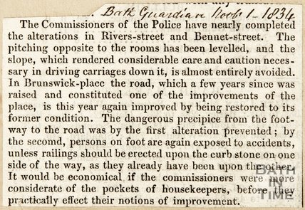 Newspaper article concerning alterations on Bennett Street and Rivers Street. 1834