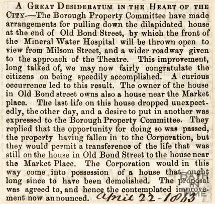 Newspaper article announcing arrangements to remove an old building at the end of Bond Street, 1863