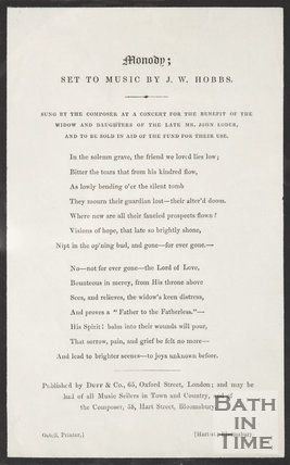 Song by J.W. Hobbs for benefit of the widow and daughters of the late Mr. J. Loder