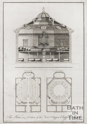 Plans and Section of the New Octagon Chapel at Bath
