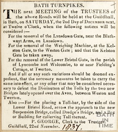 Newspaper article announcing plans of the trustees of Bath turnpikes, 1837