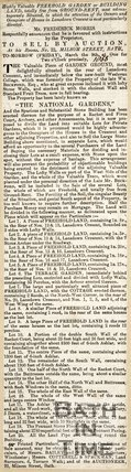 Newspaper article advertising the sale of land of the National Gardens, Lansdown Crescent, 1855