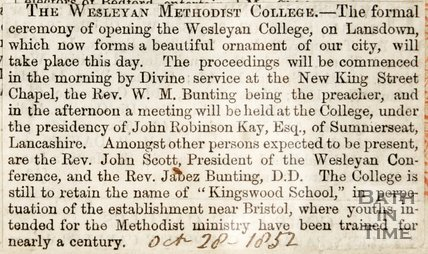 Newspaper article concerning the opening of the Wesleyan Methodist Collage, 1852