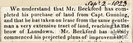 Newspaper article suggesting Mr. Beckford had completed his purchase of land from Captain Gunning, 1823