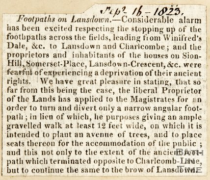 Newspaper article concerning the alarm created by stopping access of footpaths in Lansdown, 1823