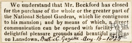 Newspaper article announcing Mr. Beckford purchasing the National Gardens Lansdown, 1825