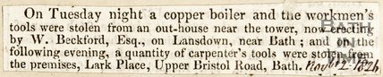 Newspaper article concerning stolen workmen's items from Lansdown, 1826