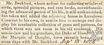 Newspaper article discussing Mr. Beckford's additional land purchases in Lansdown Crescent, 1836