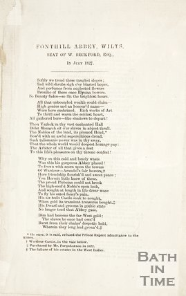 Poem about Fonthill Abbey Wilts, seat of W. Beckford Esq., 1827