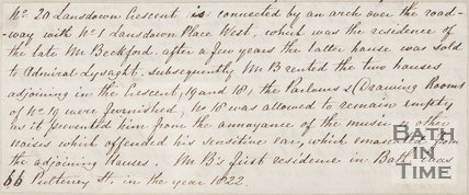 Handwritten note describing Beckford's House, Lansdown Crescent, 1844