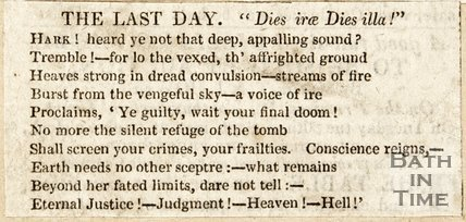 Newspaper article with poem 'The Last Day'