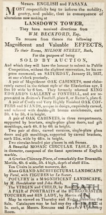Newspaper article concerning the removal of artefacts from Lansdown Tower to be sold at auction, c.1840s