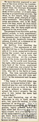 Newspaper article describing the interior of the 'lantern' at Beckford's Tower, 1844