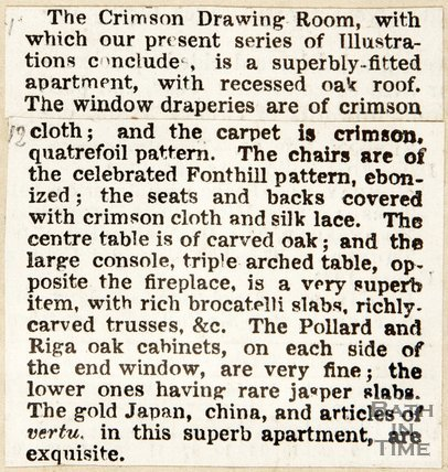 Newspaper article describing the Crimson Drawing-Room, Beckford's Tower, c.1944