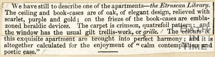 Newspaper article describing the Library, Beckford's Tower, c.1844