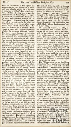 William Beckford's obituary. Covers the collapse of Fonthill Tower, home of William Beckford, c.1844