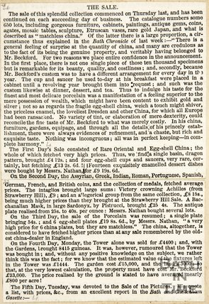 Newspaper article concerning the sale of furniture and paintings of Beckford's Tower