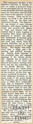 Newspaper article concluding the sale of Beckford's collection