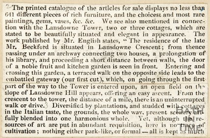 Newspaper article describing the auction catalogue for William Beckford's property