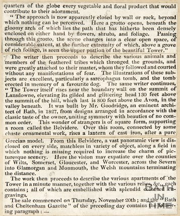 Newspaper article concerning Illustrations of Lansdown Crescent, Bath by Willes Maddox, 1844