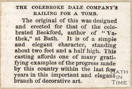 Newspaper article concerning a Coalbrookdale railing for a tomb at Lansdown Cemetery