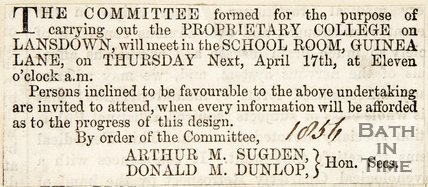 Newspaper article concerning the proposals for the Lansdown Proprietary College, 1856
