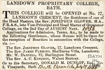 Newspaper article concerning the opening of the Lansdown Proprietary College, 1856