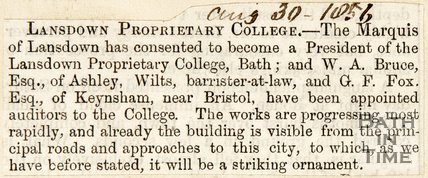 Newspaper article concerning the president of the Lansdown Proprietary College , 1856