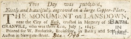 Newspaper article concerning the Monument of Lansdown, 1746