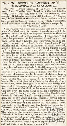 Newspaper article concerning the Battle of Lansdown, 1853